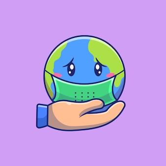 Salva il mondo dall'illustrazione dell'icona del virus. personaggio dei cartoni animati di corona mascotte. concetto dell'icona del mondo isolato