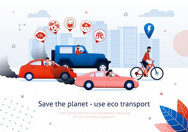 Salva il pianeta usa il trasporto ecologico. man ride bicycle