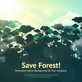 Salva l'illustrazione della foresta