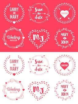 Salva l'insieme dell'illustrazione del distintivo di nozze della data.