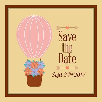 Salva la cartolina celebrazione fiori airballoon data