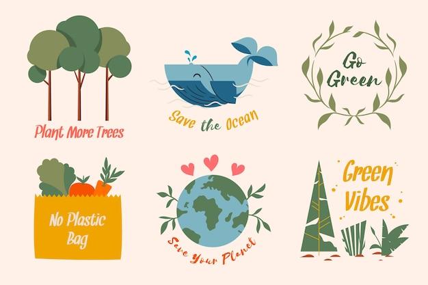 Salva la collezione di badge ecologici della terra