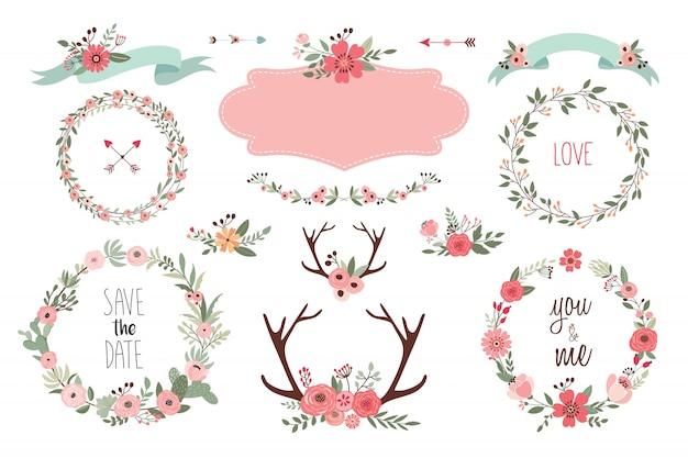 Salva la collezione di elementi data con oggetti di matrimonio, ghirlande floreali, mazzi di fiori e palchi