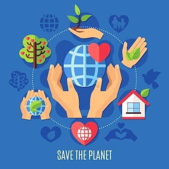 Salva la composizione di beneficenza del pianeta