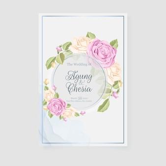 Salva la data card con bouquet di rose e foglie