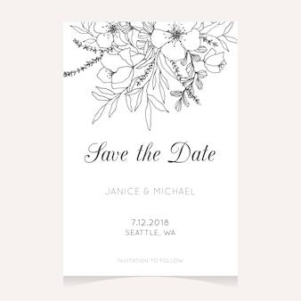 Salva la data card con design floreale