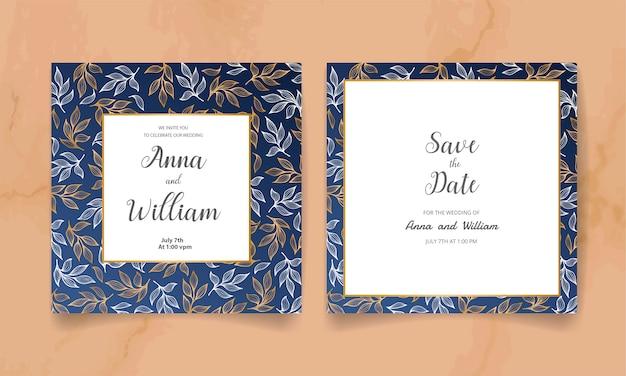 Salva la data, carta di invito a nozze con fiori dorati, foglie e rami.