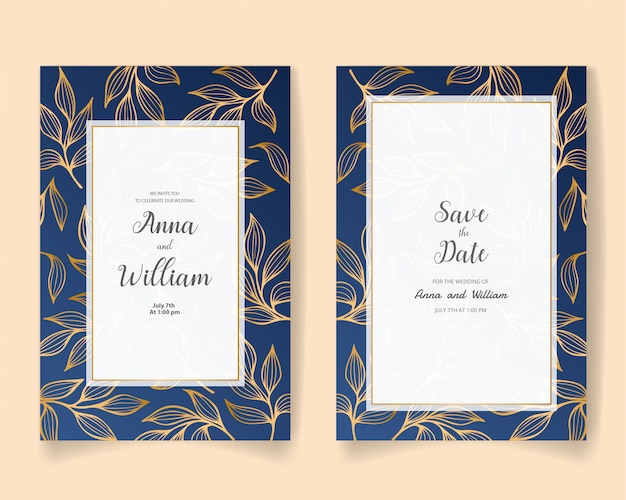 Salva la data, carta di invito a nozze con foglie e rami d'oro.