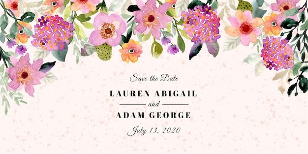 Salva la data con la carta da acquerello con cornice floreale