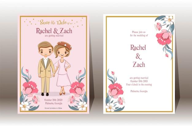 Salva la data, coppia simpatico cartone animato per la carta di inviti di nozze