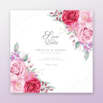Salva la data cornice floreale con bordo fiori ad acquerello