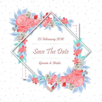 Salva la data cornice floreale con fiori ad acquerelli