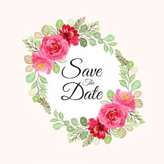 Salva la data corona floreale dell'acquerello rosa