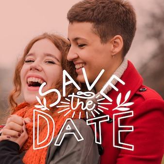 Salva la data scritta con coppia felice