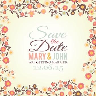 Salva la scheda floreale della data