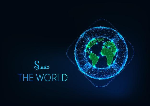 Salva lo sfondo del mondo con il futuristico incandescente salvagente poligonale intorno al globo terrestre.