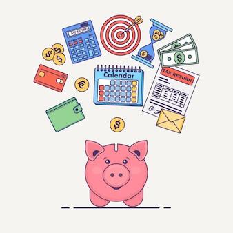 Salvadanaio con banconote da un dollaro, calcolatrice, calendario, portafoglio, modulo fiscale, carta di credito sullo sfondo. risparmia il concetto di denaro. concetto di affari.
