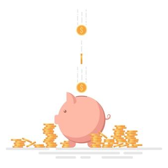 Salvadanaio con monete del dollaro illustrazione vettoriale isolato su bianco