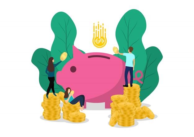 Salvadanaio concetto con personaggi. risparmiare. investimento aziendale.