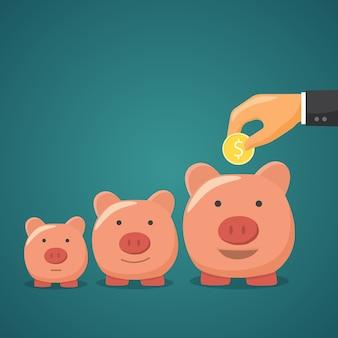 Salvadanaio, concetto di aumento di denaro.