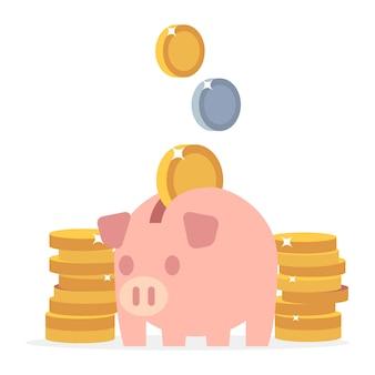 Salvadanaio e monete
