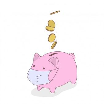 Salvadanaio maiale in maschera medica, le monete stanno cadendo