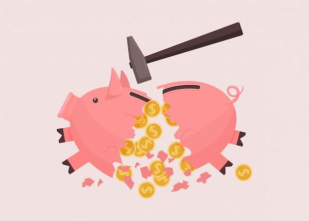 Salvadanaio rotto da un martello. contanti rosa rotti di risparmio dello spillover del porcellino salvadanaio.