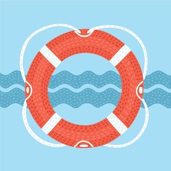 Salvagente con l'illustrazione della corda isolata su un fondo blu scuro con le forme delle onde, dell'ancora e del timone. effetto volume. nastro retrò con scritta 'marine'