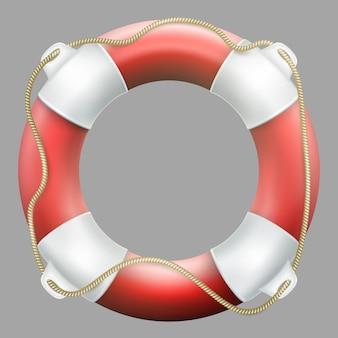 Salvagente rosso con corda. su sfondo grigio neutro. salva il cerchio per un rapido aiuto.