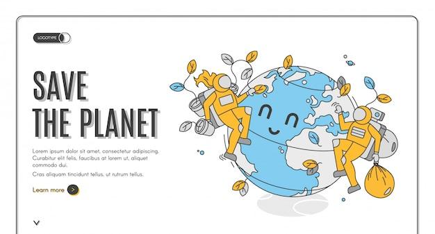 Salvare il banner disegnato a mano del pianeta