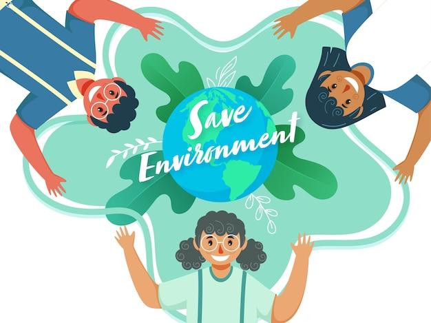 Salvare il concetto di ambiente con i bambini del fumetto che alzano le mani in alto e globo terrestre su sfondo di foglie verdi.