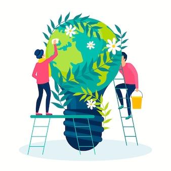 Salvare il concetto di illustrazione del pianeta