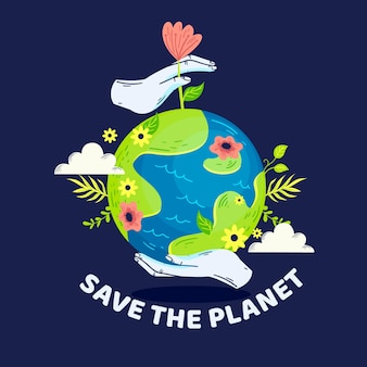 Salvare il concetto di pianeta con fiori e vegetazione