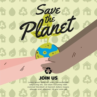Salvare il concetto di pianeta con le mani che tengono terra