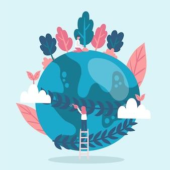 Salvare il concetto di pianeta con terra e alberi
