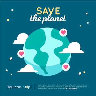 Salvare il concetto di pianeta con terra e cuori
