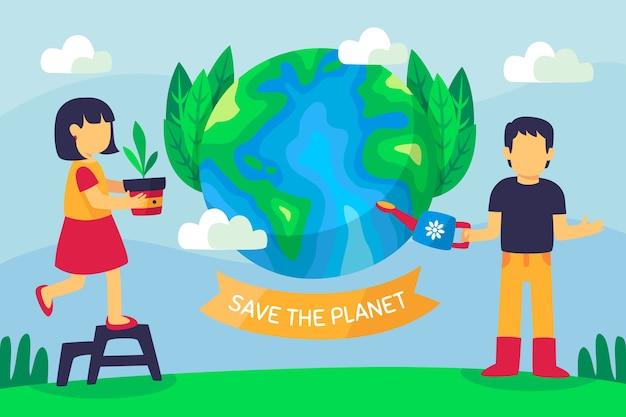Salvare il concetto di pianeta persone che si prendono cura della terra