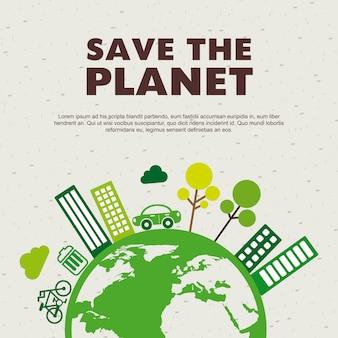 Salvare il design del pianeta su illustrati di vettore di sfondo del modello