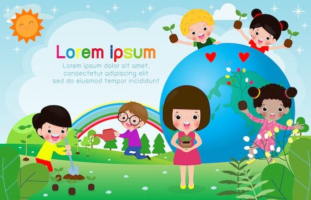 Salvare il mondo, giornata mondiale dell'ozono, i bambini amano la terra e si prendono cura dell'ambiente, salvano il pianeta, illustrazione vettoriale concetto di ecologia