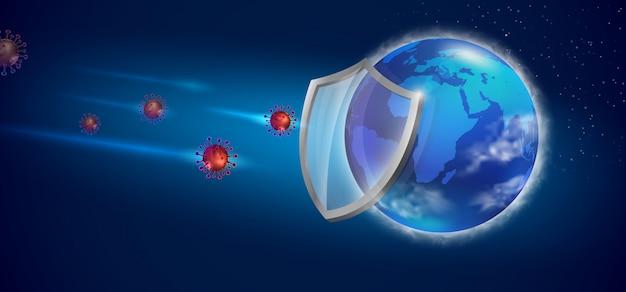Salvare il mondo prevenire il virus covid 19. file realistico.