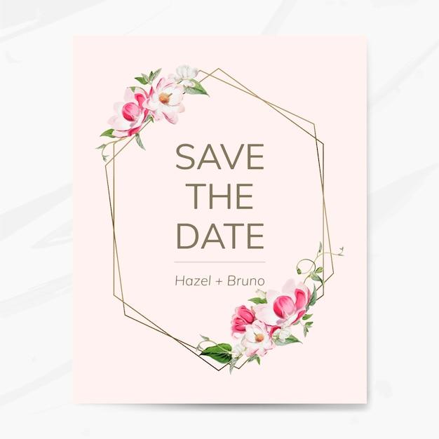 Salvare il vettore mockup di invito matrimonio data