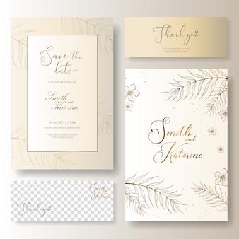 Salvare la data carta di anniversario di matrimonio d'oro