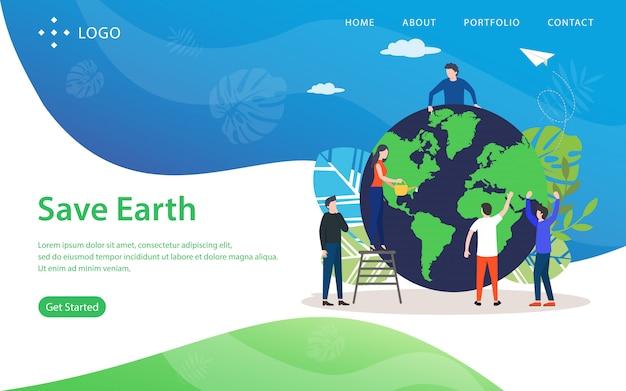 Salvare la terra, illustrazione vettoriale sito web