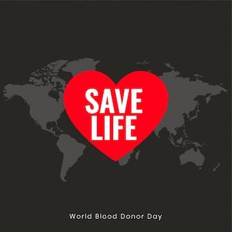 Salvare la vita poster per la giornata mondiale dei donatori di sangue