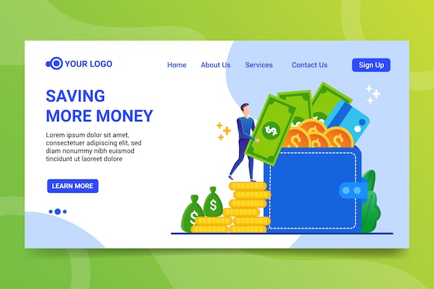 Salvataggio di più denaro landing page