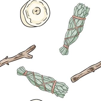 Salvia bastoncini di sbavature e candele disegnati a mano boho modello senza soluzione di continuità