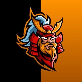 Samurai barbuto per il design del logo esport