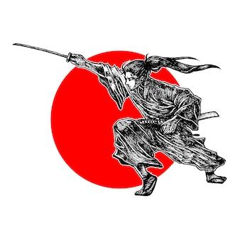 Samurai in posizione per tagliare il suo nemico, illustrazione vettoriale disegnato a mano