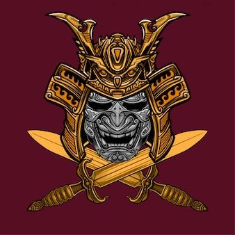 Samurai mask and sword vector