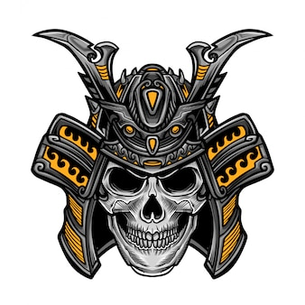 Samurai skull head vector